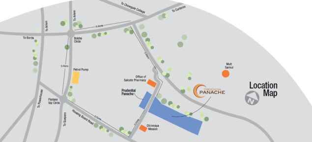 Location map of Tridentia Panache at Gogol, Margao, Goa