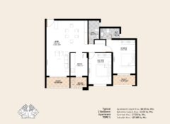 2 BHK – Type 1 – Area 127 Sq. Mts.
