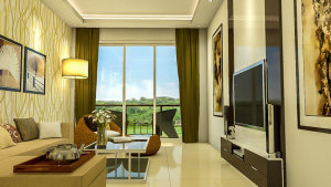 View of the interiors of the living room at Tridentia Panache
